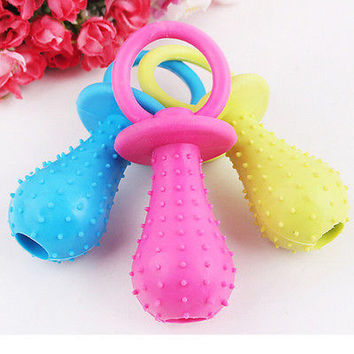 Rubber Pacifier for Pet Toys Dog Cat Puppy Chew Toys with Bell Sound Inside