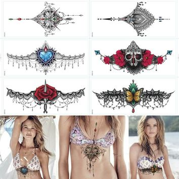 2016 6PCS Sexy chest jewelry tattoo BIG Size 295MM x 130MM Body Art tatoo Temporary Tattoo Exotic Sexy Tattoo Stickers