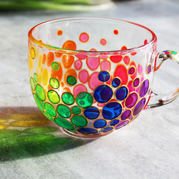 Bubbles Big Mug Painted Coffee Mug Colorful Bubbles Mug Mosaic Cup Rainbow Big Mug Bright Mug Multi Colored Mug Handmade Glass Mug Large Cup
