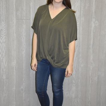 Wander Thru Fall Olive Top
