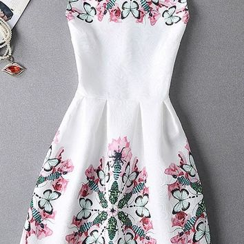 Multicolor Floral Print Round Neck Sweet Midi Dress
