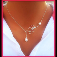 """Vintage Simple Leaves Pearl Statement Choker Silver Necklace """" FREE SHIPPING """""""