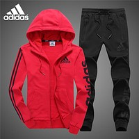 ADIDAS autumn and winter plus velvet warm casual running sportswear two-piece Red