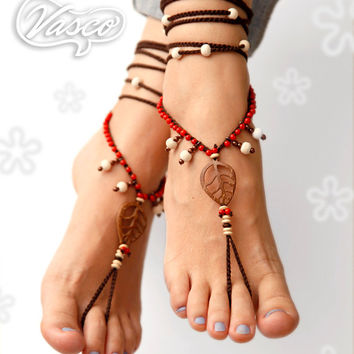 Boho Barefoot Sandal. Bellydance Shoes, Gypsy Shoes. Toe Anklet. Hippie Shoes