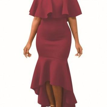 Burgundy Ruffle Boat Neck Off Shoulder Mermaid High-low Slim Elegant Maxi Dress