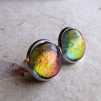 Post Earrings Color Changing Dragons Eyes Green by AshleySpatula