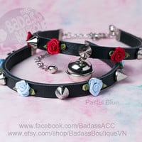 Ribbon rose spike Kitty bell black vegan leather collar, choker, necklace. Cosplay cat lover halloween jingle bell choker collar punk rock.