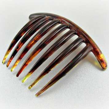 Vintage Hair Comb, Faux Tortoise-Shell Hair Comb, Large Celluloid Hair Comb, TAIWAN Hair Comb, 1970s Art Deco Hair Accessory