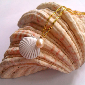 Romantic Locket Necklace - Mermaid's Treasure - White Enamel Brass Seashell Locket with Geniune Fresh Water Pearl in Cream - Summer Jewelry