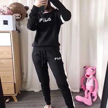 PEAPON FILA Women Fashion Round Neck Top Sweater Pants Trousers Set Two-Piece