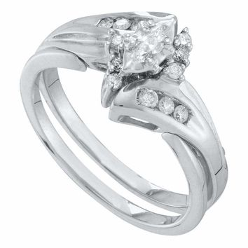 10kt White Gold Women's Marquise Diamond Bridal Wedding Engagement Ring Band Set 1/4 Cttw - FREE Shipping (US/CAN)