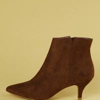 Plain Suede Pointed Toe Ankle Booties