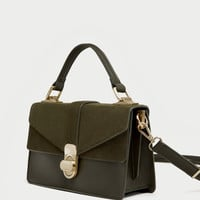 CITY BAG WITH SPLIT SUEDE FLAP DETAILS