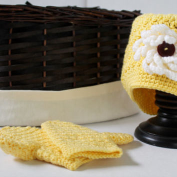 Baby Girl Crochet Yellow Hat and Mittens - Crochet Mittens - Toddlers 1 to 3 years