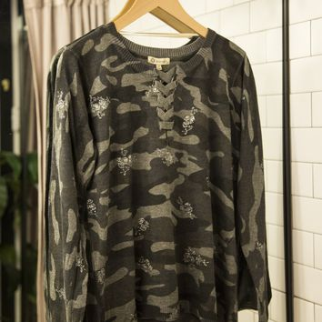 Camo Lace Front Top, Charcoal | Democracy
