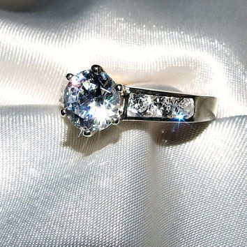Vintage 1.6 ctw Round Brilliant Diamond Alternative Eco Friendly CZ Engagement Ring, Channel Set, Tiffany Set