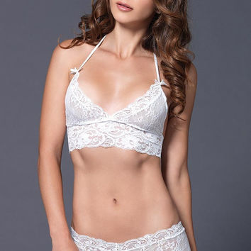 Crisp White Lace Halter Top and Cheeky Booty Short in M/L