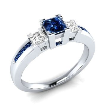 925 Sterling Silver Princess Cut Blue & White Sapphire Engagement Ring