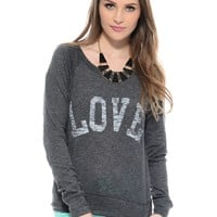 Charcoal Love Fool long Sleeve Graphic Top | $10 | Cheap Trendy Tees Chic Discount Fashion for Wome