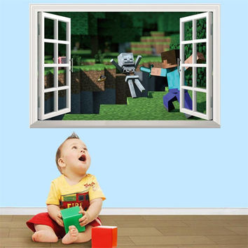 Minecraft 3D Wall Stickers Kids Rooms Minecraft Steve Wallpaper Mural Home Decor  Removable Wall Decals