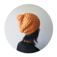 Hand Knitted Bubble Hat in Mustard Yellow - Beanie with Pom Pom - Slouch Seamless Hat - Winter Hat - Wool Blend