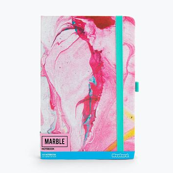 Pink Marble Notebook Paper Pad with Mint Strap