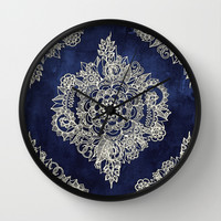 Cream Floral Moroccan Pattern on Deep Indigo Ink Wall Clock by Micklyn