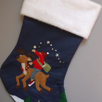 Child's Whimsical Christmas Stocking, Unique Stocking, Personalized