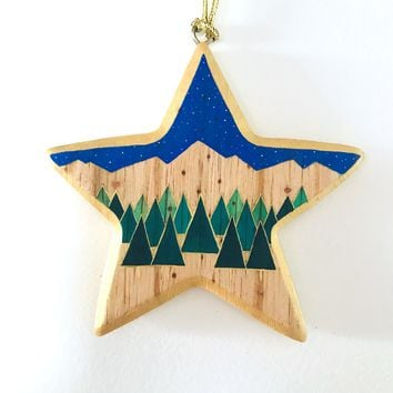 Hand Painted Ornament - Trees and Night Sky