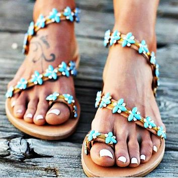 Full Star Water Drill Metal Toe Sandals Flat Bottom Size 40-42 for Women's Shoes