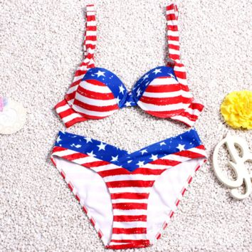 Retro Vintage American Flag Pattern swimsuits Set Swimwear BK074