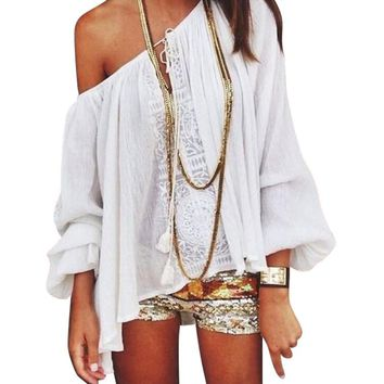 2017 Summer Women Boho Loose Tops Off Shoulder Long Sleeve  Sexy White Shirt Lace Blouse WY-01