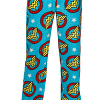 Wonder Woman Ladies' Fleece Pajamas - Blue,