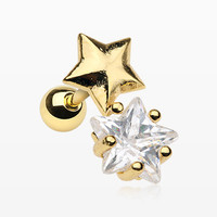 Golden Nova Star Sparkle Cartilage Tragus Barbell