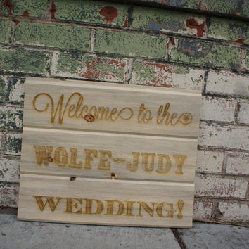 Rustic WOOD WEDDING SIGN Personalized Custom Sign, Wedding Welcome Sign, Outdoor, Barn, Rustic Wedding
