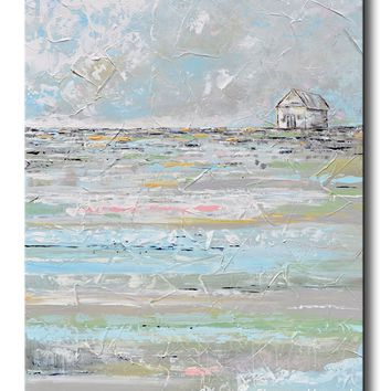 ORIGINAL Art Abstract Painting TEXTURED Landscape White Farmhouse Blue Grey Wall Art 30x40""