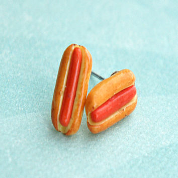 hotdog sandwich stud earrings