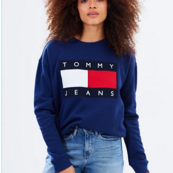Tommy Hilfiger Fashion Women Men Print SweaterShirt B-KWKWM Blue