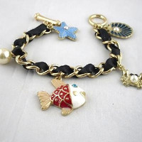 Chain Fabric Ocean Fish Sea Shell Starfish Bracelet