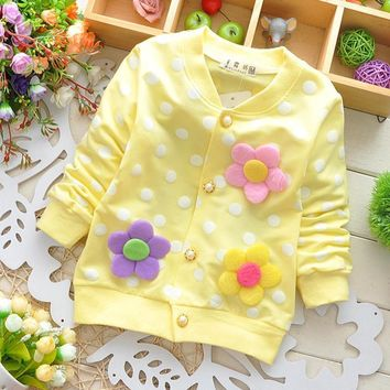 Spring Autumn 2017 New Cotton Baby Girl Cardigan Coat Cute Flowers Lollipops Dot Jacket Kids Pink Yellow Green Children Clothing