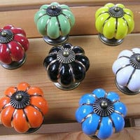 Ceramic Kitchen Cabinet Knobs Dresser Drawer Knobs Pulls Handles / Blue Red Green White Black Orange Yellow Antique Bronze Hardware