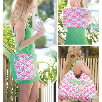 Monogrammed Beach Bag, Shelly Beach Bag, Bridesmaid Gifts, Bridal Shower Gifts, Group Discounts, Pink and Green Beach Bag