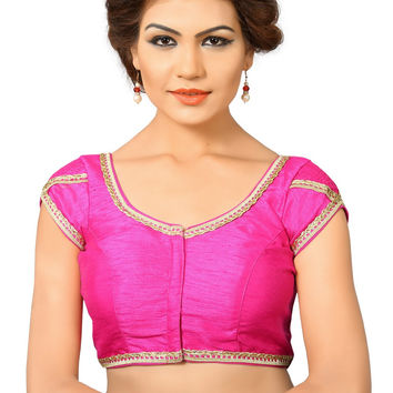 Saris and Things Pink Dupion Silk Fancy Front Open Saree Blouse Choli SNT-X-376-PINK