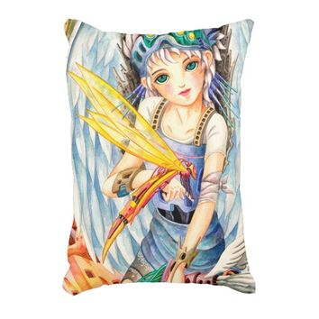Girl Swordsman Decorative Pillow
