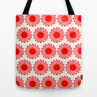 Vintage Flower-Red Tote Bag by Garima Dhawan