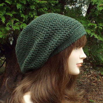 Pine Green Slouch Beanie - Womens Slouchy Crochet Hat - Ladies Oversized Cap - Hipster Hat - Baggy Beanie