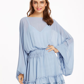 Blue Oversized Bishop Sleeve Ruffle Hem Drawstring Dress With Cami Top | MakeMeChic.COM