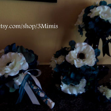 Anemone Wedding Bouquet 6 Piece Bridal Set Teal Hydrangea and White Anemone