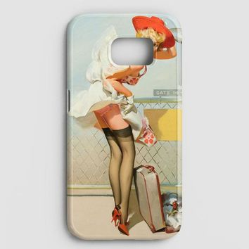 Pin Up Girl Airport Retro Art Samsung Galaxy S7 Edge Case