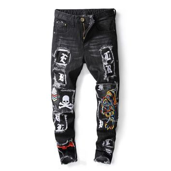 New Brand Fashion Designer Men's Skinny Jeans Male Casual Distressed Ripped tiger Skull Embroidered Patches Stretch Denim Pants
